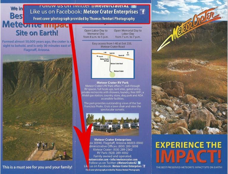 La Meteor Crater Enterprises Inc. mi ha richiesto questa foto nel 2014 per realizzare 100.000 brochures pubblicitarie del Meteor Crater in Arizona.